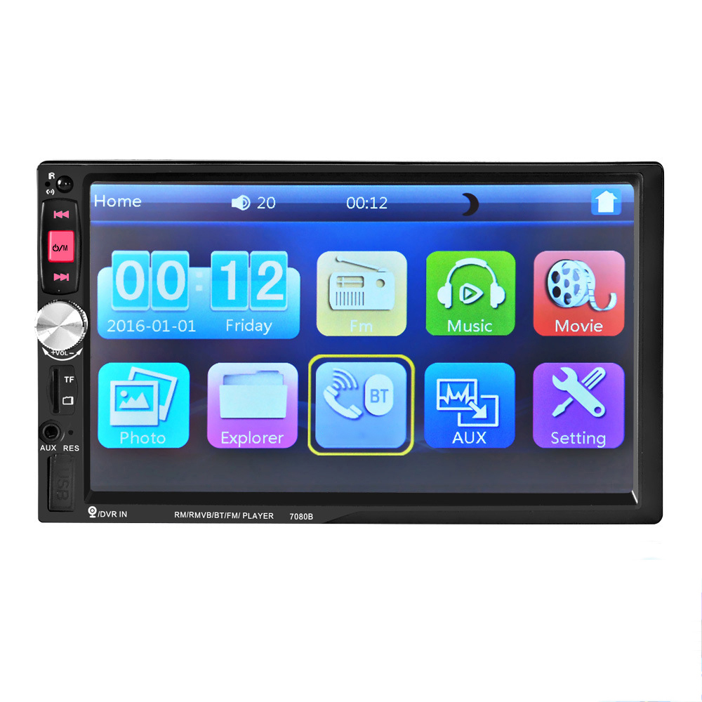 2 DIN Car Radio Player with 7 inch HD Touch Screen Hand-free BT Stereo Radio MP4 MP5 MP3 Players Radio 7080B Remote Control цена