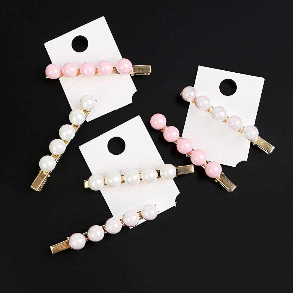 2Pcs White Pink Gray Pearl Hair Clip Barrettes for Women Girls Handmade Pearl Flowers Hairpins Hair Styling Tool Accessories