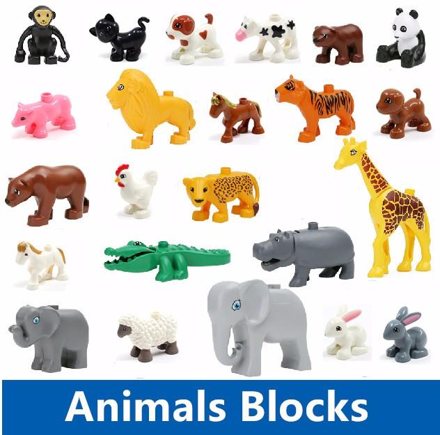 Большие строительные блоки аксессуары кирпичи кукла животных мост корзина презентация лестница качели совместимость с legoed duplo детские игрушки подарок