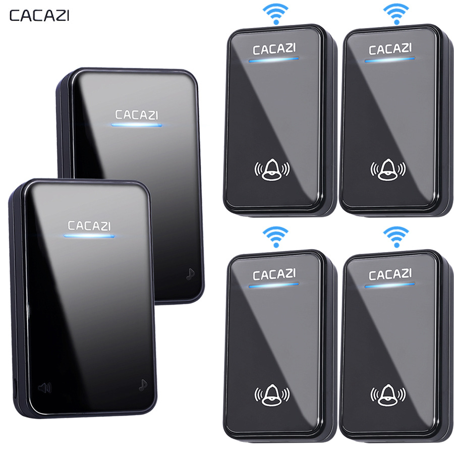 CACAZI Wireless Doorbell Waterproof 300M Remote EU AU UK US Plug home 110V 220V 240V Door Bell Chime 4 button 1 2 3 receiver cacazi dc wireless doorbell battery operated 4 transmitters 1 receiver 300m remote door bell 48 rings 6 volume door chime