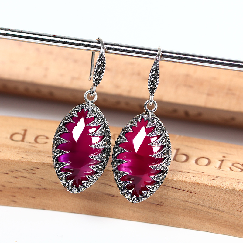 Vintage Long Silver Earrings Ruby Leaf 925 Sterling Silver Earrings for Women Wedding Party Silver Earrings 2018 Fine Jewelry pair of exquisite gemstone embellished leaf shaped long earrings for women