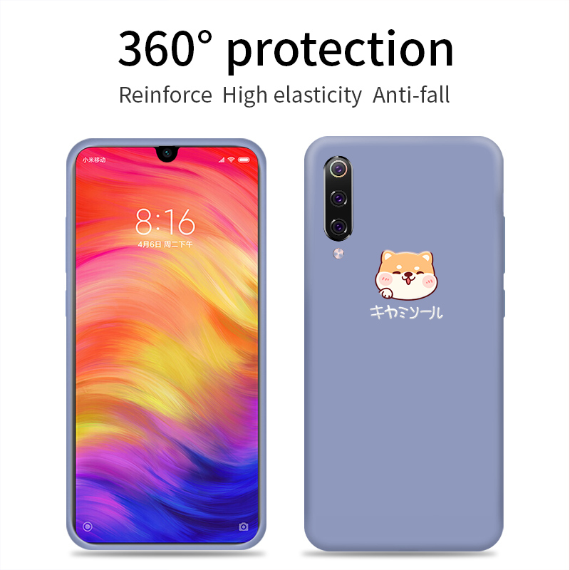 Cute Liquid Silicone Case For Xiaomi Redmi Note 7 Dog Plain Clear Cover For Xiaomi Mi 8 Lite Mi 9 A2 SE Fundas Capas in Fitted Cases from Cellphones Telecommunications