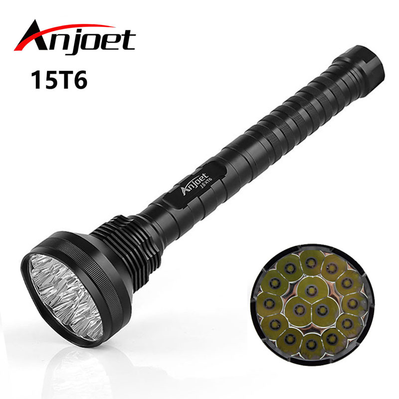 Anjoet 18000 lm 15*XML T6 LED 5-Mode Outdoor waterproof flashlight,torch,lantern,camping light, lamp, Hunting 26650/18650 anjoet 28 x t6 led 40000 lumens high power 5 modes glare flashlight torch working lamp floodlight accent light camping lantern