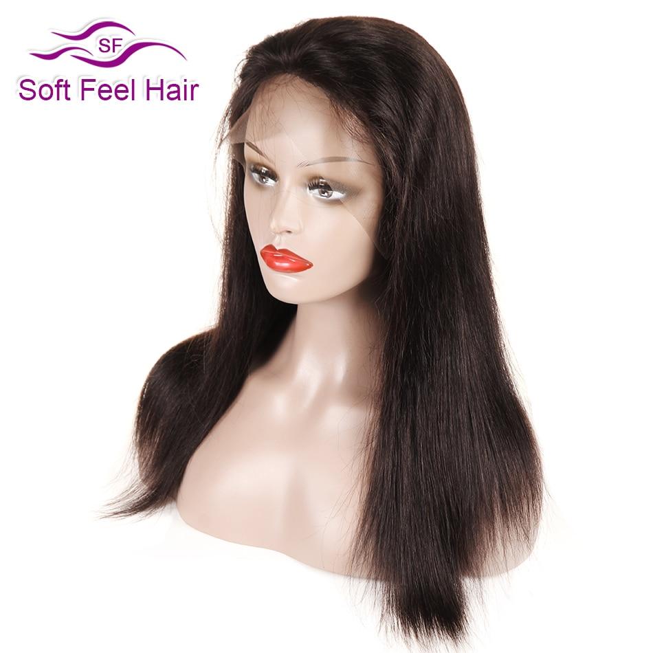 Puha érzés haj fekete teljes csipke emberi haj paróka nők Remy brazil egyenes előtti csipke paróka baba haj 12-18 inch