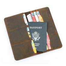 Europe and America Style Genuine Leather Wallet Male Large Cow Leather Passport Cover Travel Wallet for Men Business Card Holder