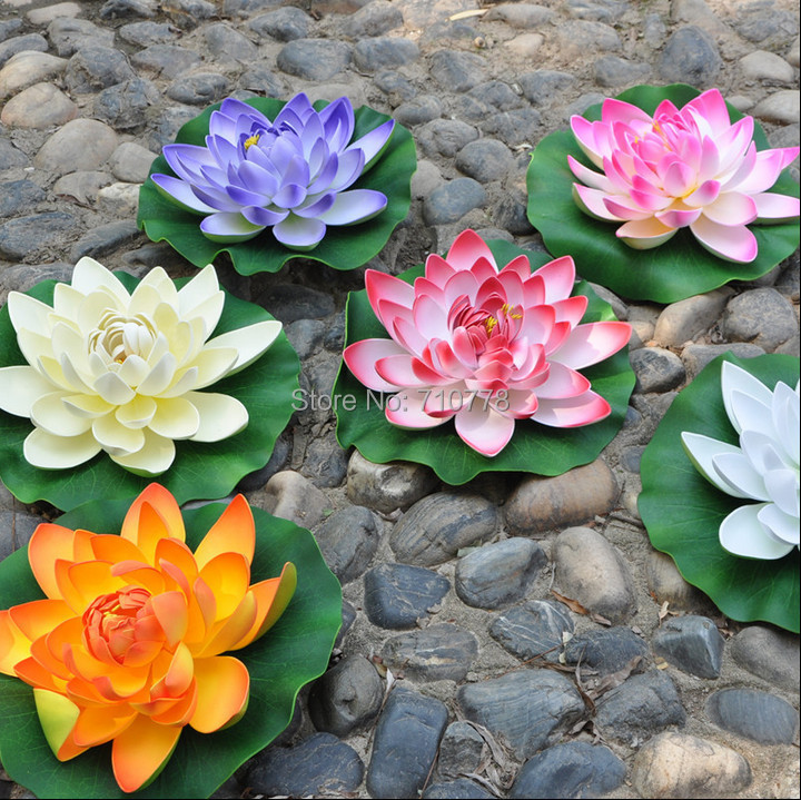 6colors available dia28cm11 artificial lotus flower water lily 6colors available dia28cm11 artificial lotus flower water lily water fish tank features decoration peoperties props in artificial dried flowers from mightylinksfo