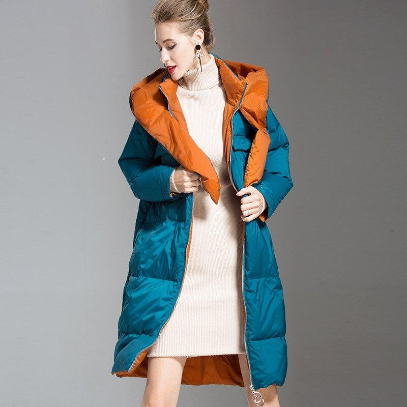 Thicker Snow Wear 90 White Duck   Down     Coat   Female Oversize Outerwear Casual Hat Hooded Long European Winter Women Jacket B003