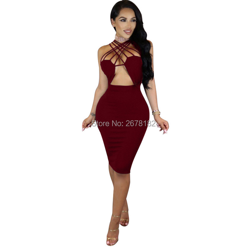 Sexy Club Lace Up Hollow Out Dress 2018 Summer New fashion Vestidos Women Sleeveless Party Elegant bodycon Dress JZ015