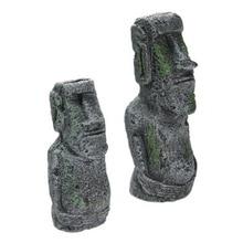 Fish Tank Decorations Easter Island statues Landscape Resin Crafts Aquarium Decor Ornaments