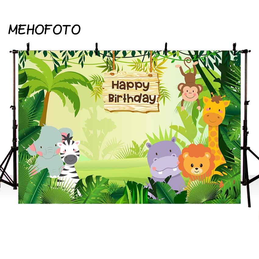 Jungle Safari Party Photo Background Animals Forest Photography Backdrop Baby Happy Birthday Theme Party Banner Decoration