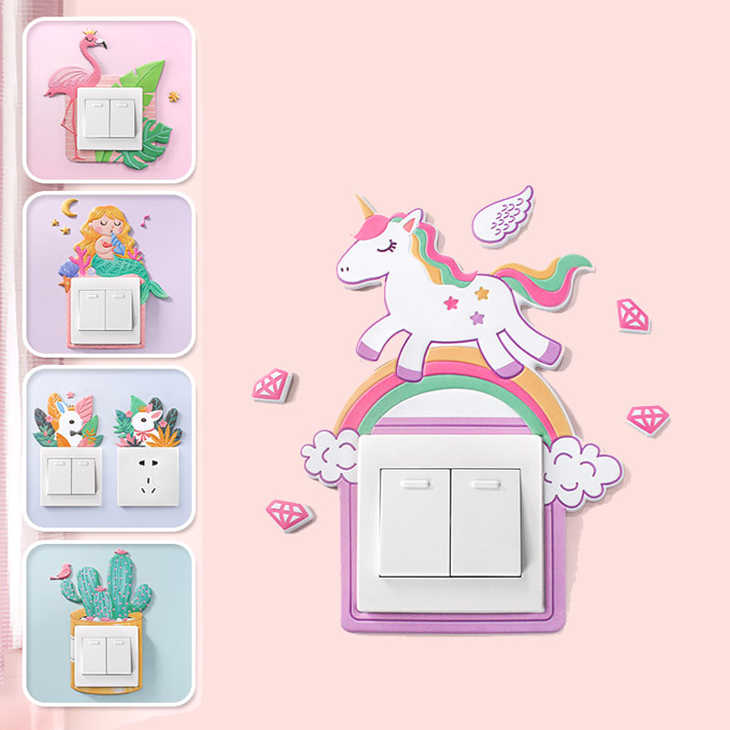 Unicorn Cartoon Silicone Animal Cactus Switch Cover Wall Sticker 3D Wall On-off Switch Luminous Light Switch Panel Stickers(China)