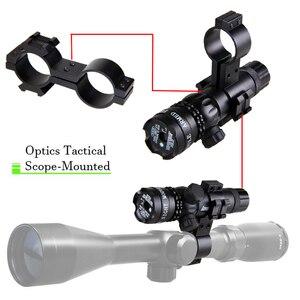 Image 2 - Taktische Jagd Laser Montieren Grün Dot Laser Anblick Gewehr Pistole Umfang 20mm Airsoftsport Schiene & Barrel Druck Schalter Montieren