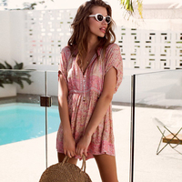 Pink Floral Playsuit Women 2019 Short Sleeve V neck Button up Sexy Jumpsuit Overalls Summer Boho Hippie Beach Wear Romper