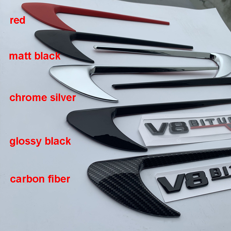 Image 2 - Vent Fender Trim Emblem Blade Logo Sticker Side Decoration for Benz AMG V8 C200 C300 E300 E400 W213 Carbon Fiber Gloss Black-in Car Stickers from Automobiles & Motorcycles