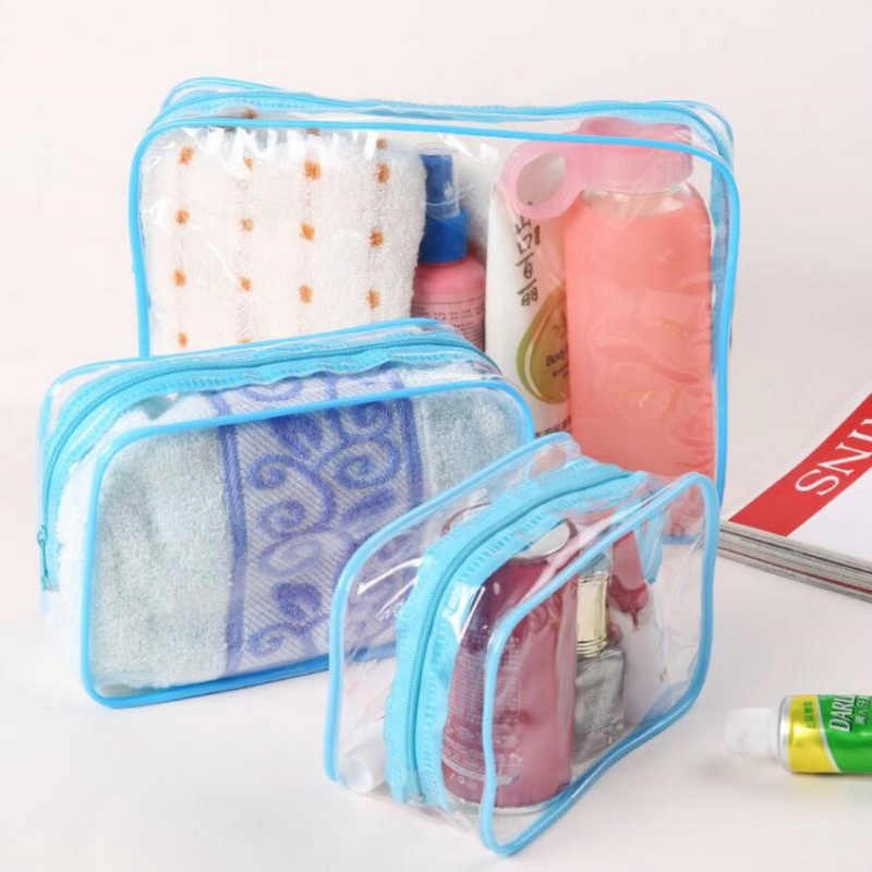 2019 3 Color Waterproof PVC Cosmetic Storage Bag Women Transparent Organizer for Makeup Pouch Compression Travelling Bath Bags