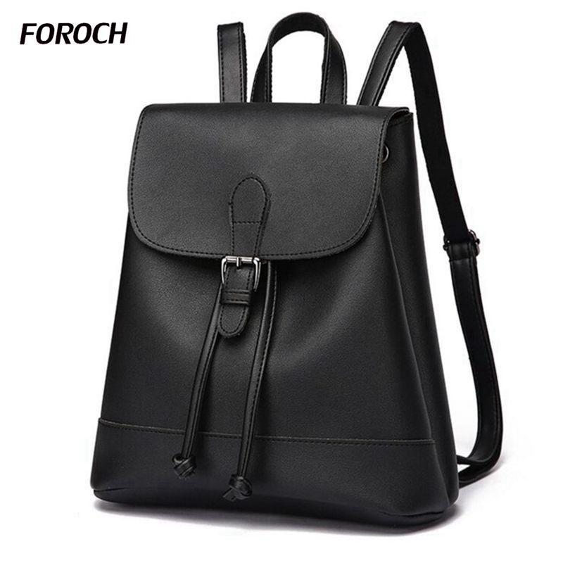 FOROCH New Women Backpack High Quality Youth Leather Backpacks for Teenage Girls Female School Shoulder Bag Bagpack mochila 288