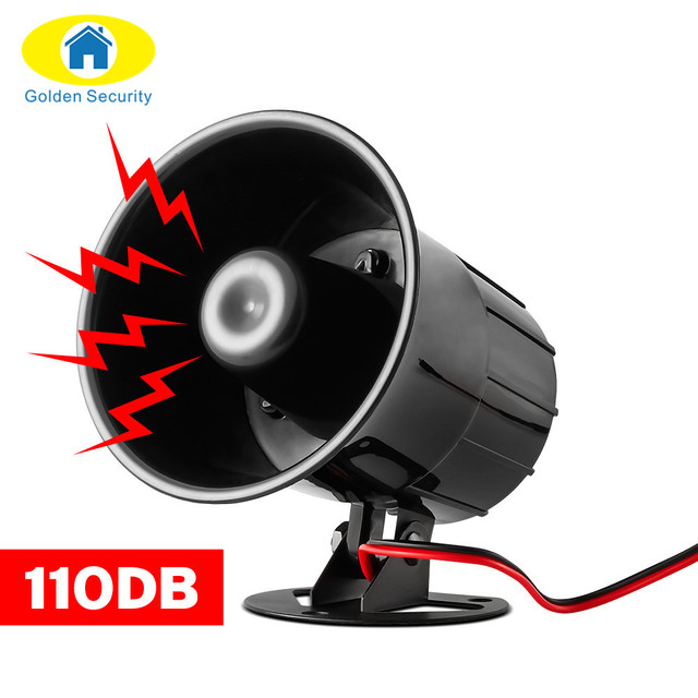 Golden Security Wired Alarm Siren Horn Outdoor with Bracket for Home Alarm System Security loudly sound siren