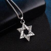 Stella Di David Ciondolo Croce e la Collana In Oro Color Acciaio Donne/Uomini Catena di Gioielli Ebraico di Israele
