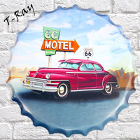40x40cm Route 66 Motel Retro Metal Tin Signs Tin Plaque Tin Paintings Advertising Shop Bar Garage