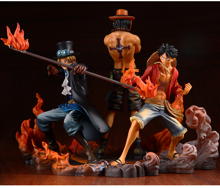 Us 29 99 Anime One Piece Monkey D Luffy Portgas D Ace Sabo Three Brothers Pvc Action Figure Resin Collection Model Toy Gifts Cosplay In Action Toy