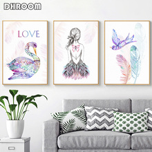 Nordic Ins Super Fire Ballet Girl Back Nursery Canvas Art Print Painting Watercolor Feather Flamingo Poster Decorative