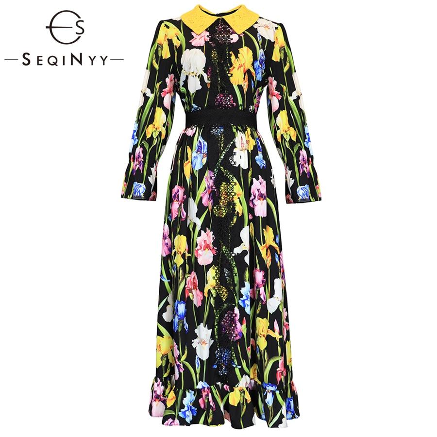 b967f1918f558 SEQINYY Fashion Printed Dress Colorful Flower High Street 2019 Early ...