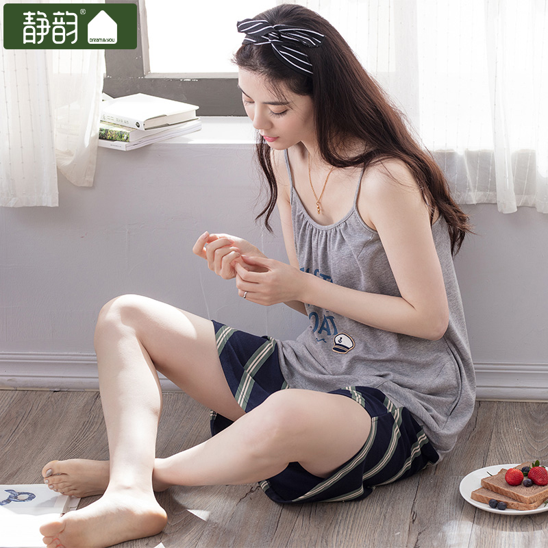 2017 sleepwear female 100 cotton thin loose sexy lounge 100 cotton spaghetti strap young girl nightgown
