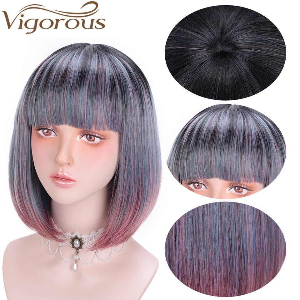 Энергичный выстрелил прямо боб парик с челкой синтетический Ombre Синий Розовый парик для Для женщин девочек вечерние натуральный термостойкие волокна волос