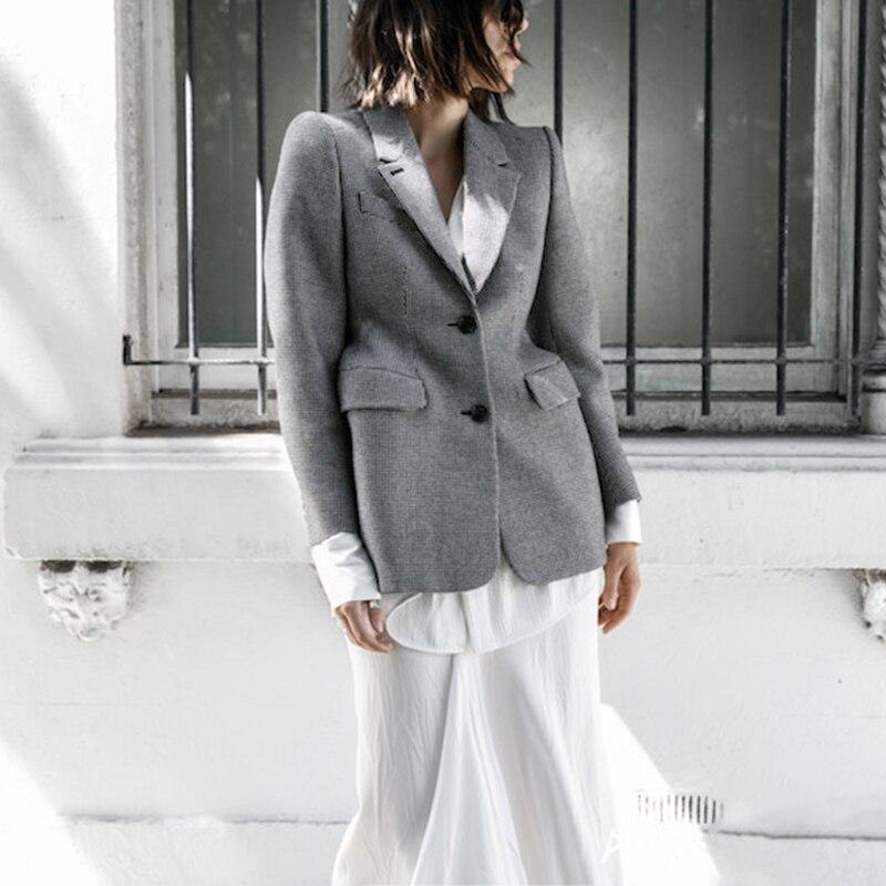 Twotwinstyle xadrez feminino casaco de lã com