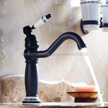 цена на Oil Rubbed Bronze Swivel Spout Bathroom / Kitchen Sink Faucet - One Hole Hot Cold Mixer Water Tap Knf507