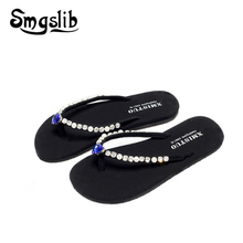 Woman flip flops Lady Fashion Casual Beach Slippers Flip-flops Home Sandals Women 2019 Summer Comfortable Cristal Heel Slippers цены онлайн