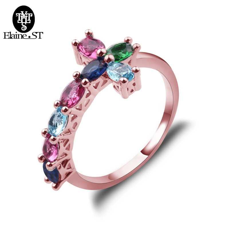 หรูหรากางเขนแหวนแนวโน้ม Sideways Cross Rose Gold Filled เครื่องประดับแหวนแหวนหินวันเกิดของขวัญ
