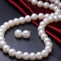VOJEFEN Runde Weiß Süßwasser Zuchtperlen Halskette & Ohrringe Set Braut Romantische Hochzeit perle Schmuck Set Feine Halsketten
