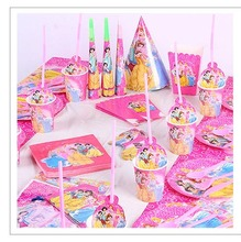91pcs Flags Tablecloth Straws  Cups Plates Napkin Knife Fork Spoon Princess Kids Birthday Party Supplies Decoration favors анурова ирина владимировна соловцова элла ивановна испанский язык книга для чтения 6 класс