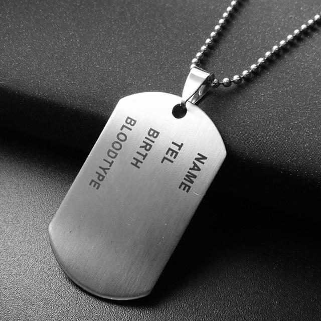 1pc army tag badge name dog tag pendant man chain necklace silver 1pc army tag badge name dog tag pendant man chain necklace silver color stainless steel charm aloadofball Gallery