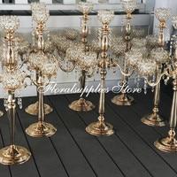 6PCS 5 arm 75 cm tall golden silver color crystal candelabra candlestick decorative wedding centerpieces for event decoration