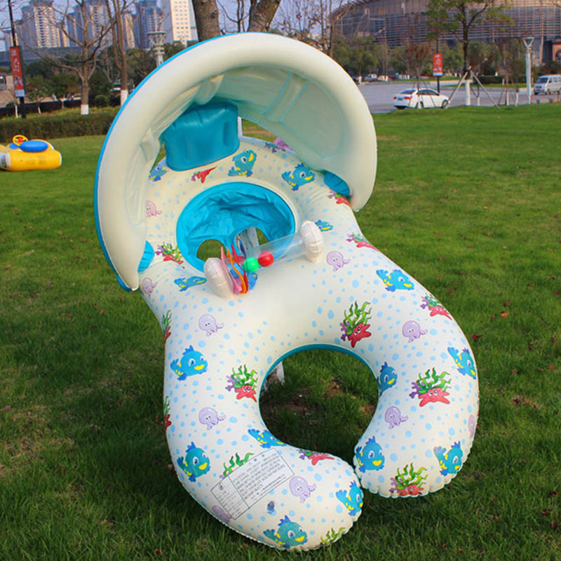 Inflatable Baby Swimming Circle Pool Float Tube Toys Sunshade Seat Ring Safety With Mother Boia Piscina Water Mattress dual slide portable baby swimming pool pvc inflatable pool babies child eco friendly piscina transparent infant swimming pools