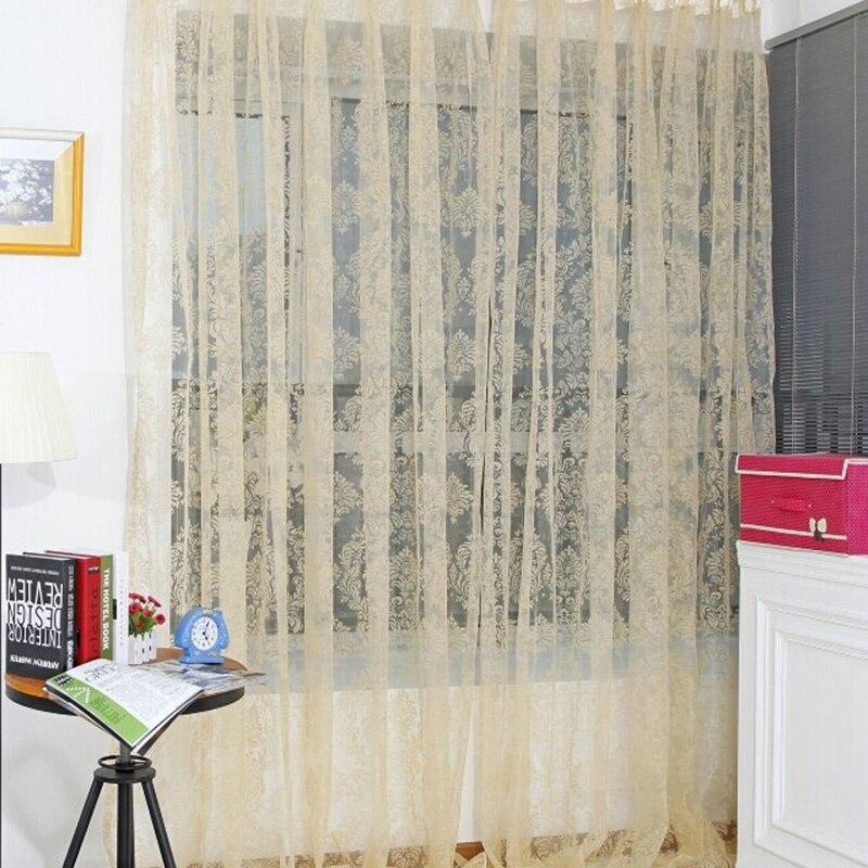 1 PCS Noble Window Screens Tulle Bronzing Flower Door Curtain Panel ...