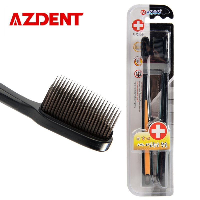 2Pcs Nano Bamboo Charcoal Toothbrush Double Ultra Soft Tooth Brush Tongue Cleaner Black Heads Nano-antibacterial Toothbrush
