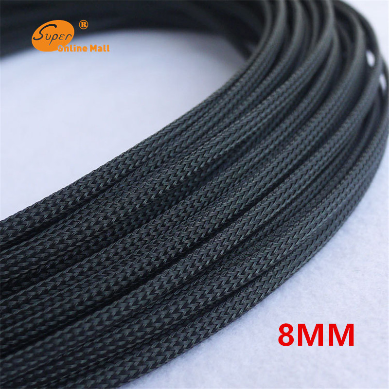 1M Black 8mm Braid Cables Textile Cord PET Expandable Sleeving High Density Sheathing Plaited Cable Sleeves