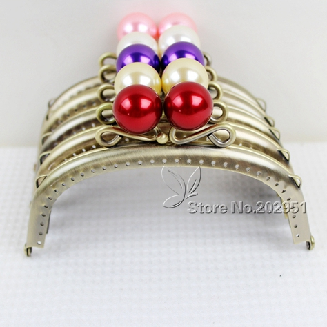 10pcs High Quality 12.5 Cm Pearl Head Antique Bronze Smooth Metal Purse Frame Handle Completed Holes Wholesale freeshipping Long Performance Life Luggage & Bags