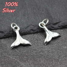 Real 925 Sterling Silver Small Pendant Charms Animal Whale Fish Tail Charm Mermaid Tails Bead Pendant For DIY Bracelet Necklace