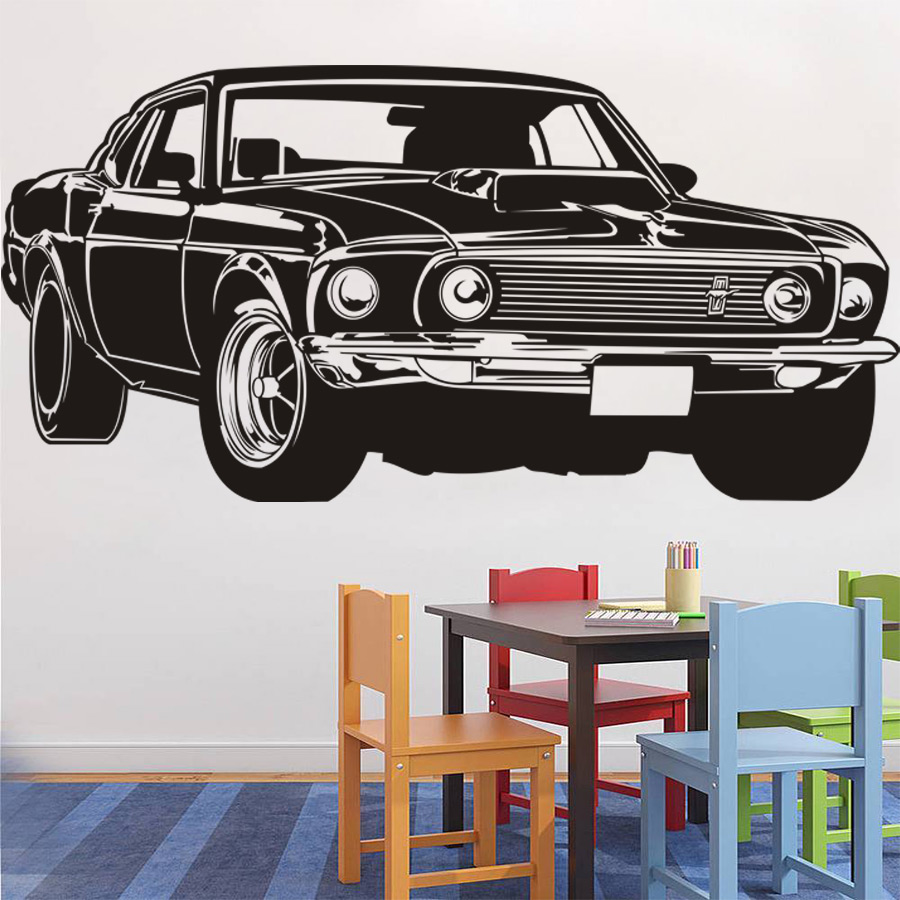 Classic Shelby Gt Ford Mustang Muscle Racing Car Wall Decal Art Home Decor Vinyl Wall Sticker