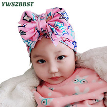 New Fashion Baby Hat Big Bowknot Print Infant Cap Autumn Winter for Boys Girls Cotton Warm Children