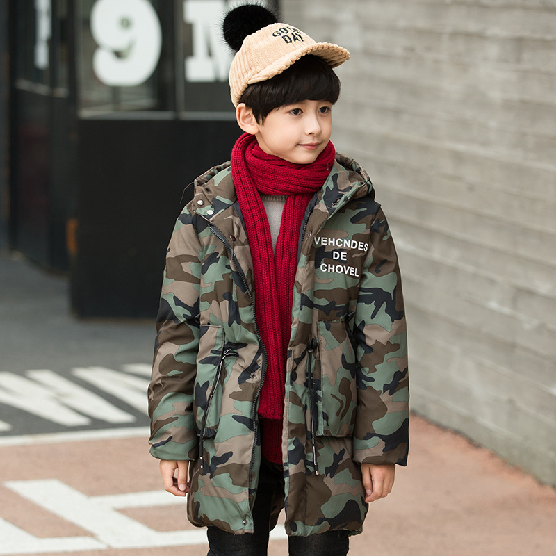 JKP 2018 Winter Boys New Jackets Cotton Jackets Kids Clothes Cotton Hooded Camouflage Parkas Thick children Outerwear MF-16 цена
