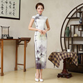 Satin Ink Lady Chinese Traditional Dress for Evening Party Women Ancient Cheongsam Clothing  Female Chi-pao Dress 89