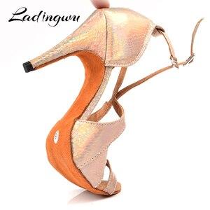 Image 5 - Ladingwu Yeni Marka Dans Ayakkabıları Kadın Latin Benzersiz Yılan doku PU Salsa Dans Ayakkabıları 10 cm Topuklu Tango Profesyonel yapmak ayakkabı