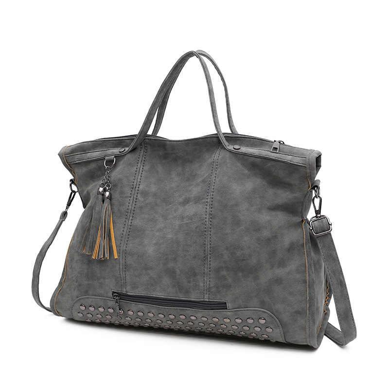 Toposhine Baru Besar Kapasitas Shopping Wanita Tas Wanita Bahu Perjalanan Tas Solid PU Kulit Fashion Wanita Desain Rumbai & Rivet