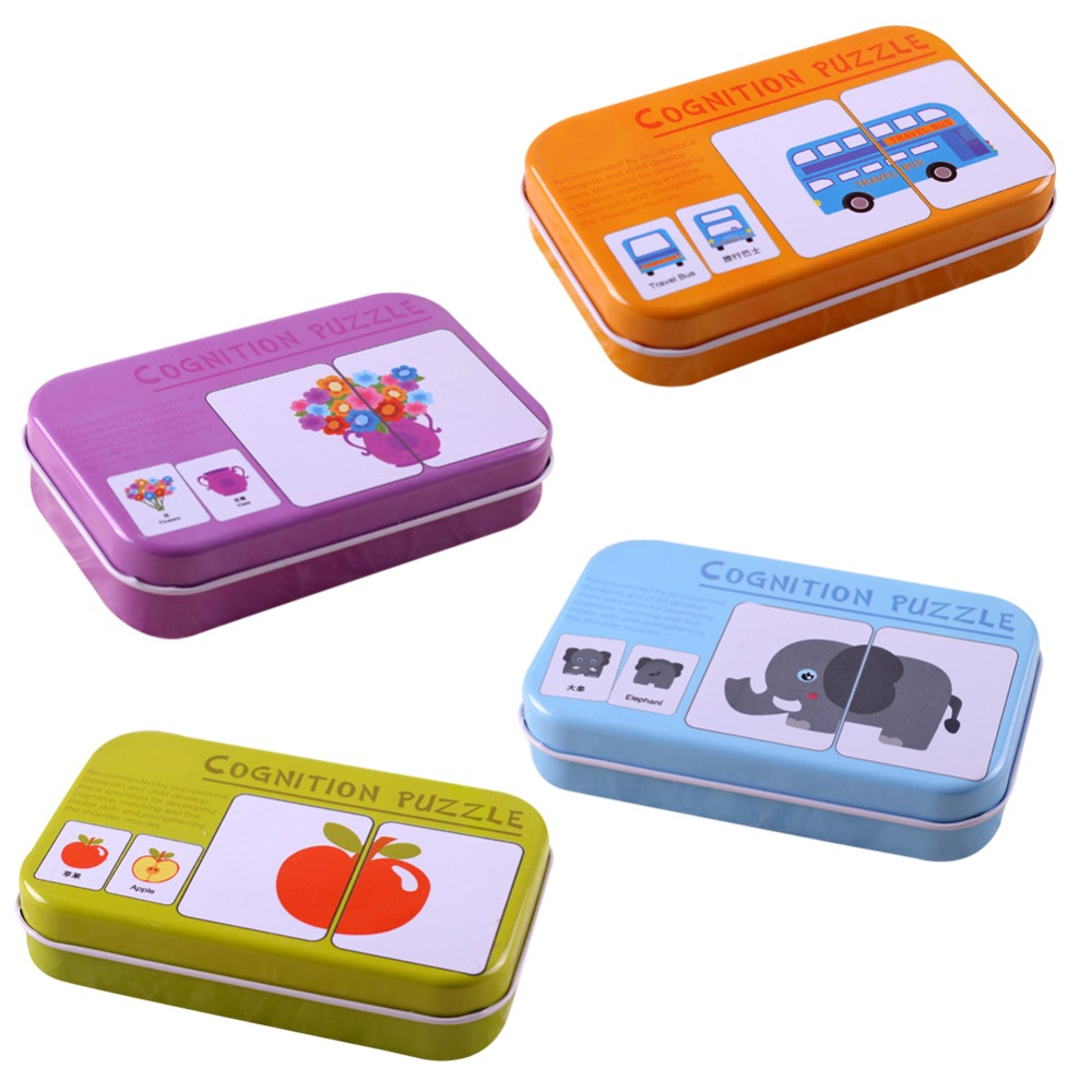 Kids Cognition Puzzle Toys Baby Iron Bag Cards Matching Game Card Vehicl/Fruit/Animal/Life Set Couple Puzzle