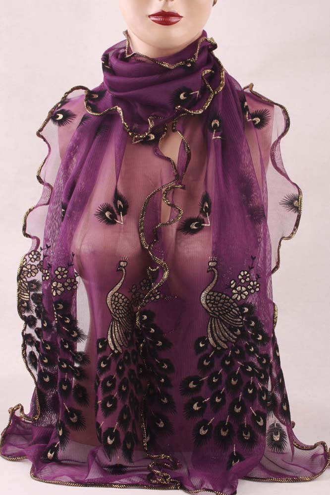 2016 Wonderful Chiffon Peacock Long Soft Scarf More Color Size 19043mm Wrap Shawl Stole For